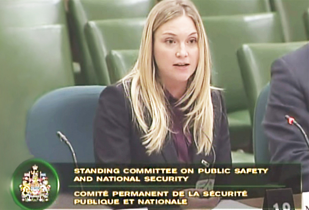 Nicole Levesque at the Standing Committee on Public Safety and National Security discussing Canada's pardon program.